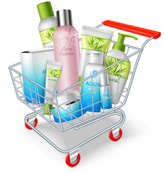 Cosmetics shopping cart vector