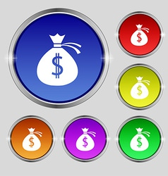 Money bag icon sign round symbol on bright vector