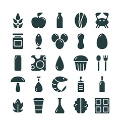 Variety of food icons set vector