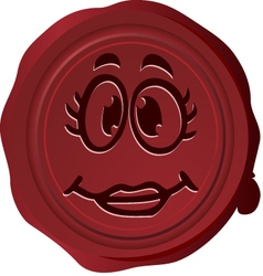 Wax seal smiley 5 vector