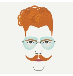 Young red hair hipster male with blue sunglasses vector