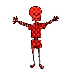 Comic cartoon skeleton in clothes vector