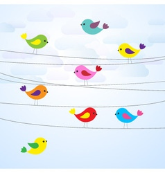 cute colorful birds on wires vector image