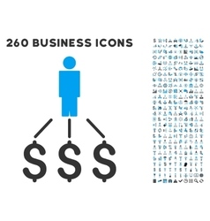 Person expenses icon with flat set vector