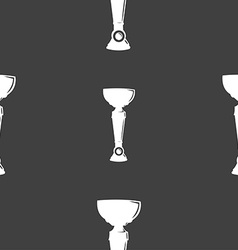 Trophy icon sign seamless pattern on a gray vector