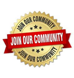 Join our community 3d gold badge with red ribbon vector