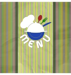 restaurant menu with chef hat line color vector image