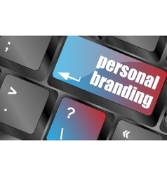 Personal branding on computer keyboard key button vector
