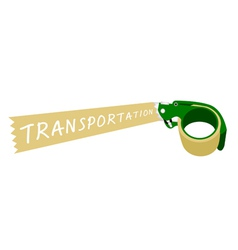 Adhesive tape dispenser with a word transportation vector