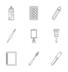art school icons set outline style vector image