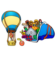 Balloon and gifts in sack vector