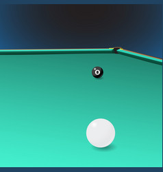 Billiard table with a corner pocket and two balls vector