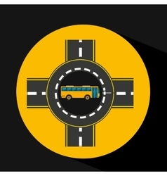 bus transport public roundabout road vector image