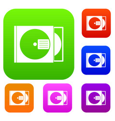 Cd box with disc set color collection vector