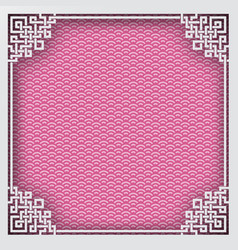 Chinese square frame on pink pattern oriental vector
