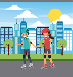 couple family holding hand with roller skate in vector image