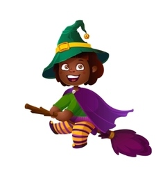 Cute african american girl witch on the broom vector