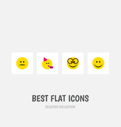 Flat icon gesture set of displeased party time vector