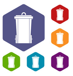 Garbage bin icons set hexagon vector