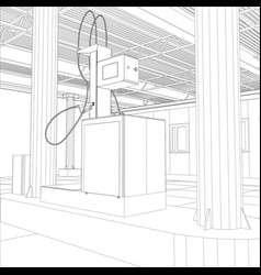 gas station wire-frame line vector image vector image