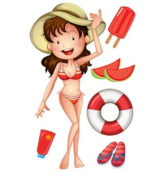 Girl in bikini with summer set vector
