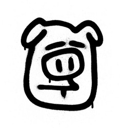 graffiti sceptical pig emoji sprayed in black vector image vector image