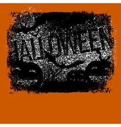 Halloween typography with pumpkins and bats vector
