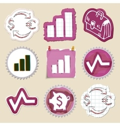 Hand drawn finance emblems set Isolated vector image vector image