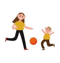 Happy mother playing ball with her son cartoon vector