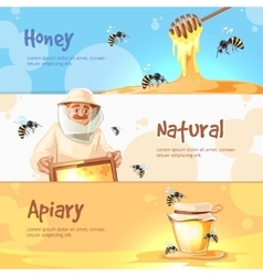 horisontal banners set of Apiary symbols vector image vector image