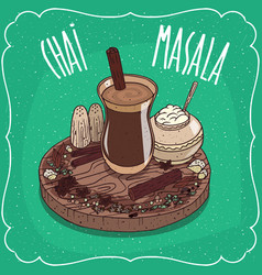 Indian tea masala chai with spices and herbs vector