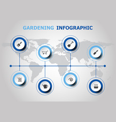 Infographic design with gardening icons vector