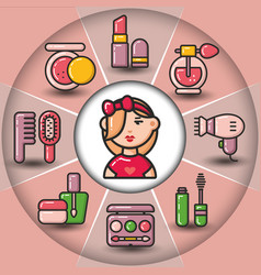 Infographic set of beauty cosmetic icons and woman vector