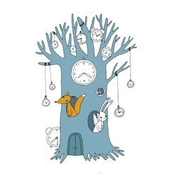 Magic tree clock fox and hare vector image vector image