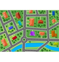 Map of little town or suburb village vector image vector image