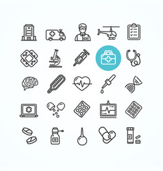 medicine symbols and signs black thin line icon vector image vector image