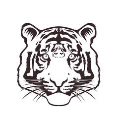 monochrome tiger face vector image