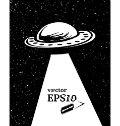 Monochrome UFO invasion vector image