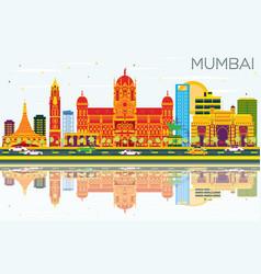 Mumbai skyline with color buildings blue sky and vector