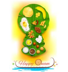 Onam feast on banana leaf vector