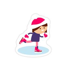 Paper sticker on white background girl skates vector