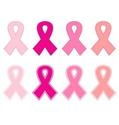 Pink cancer ribbon set isolated on white vector