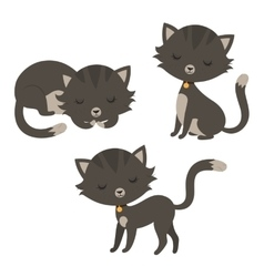 Set of funny cartoon cats vector image