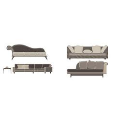 Sofa set furniture room interior living chair vector