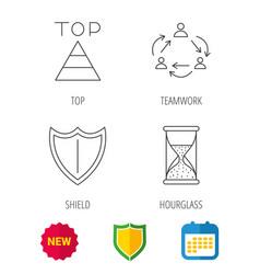 Teamwork shield and top pyramid icons vector