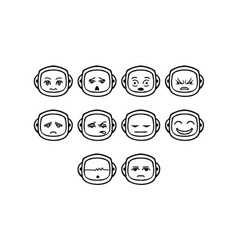 thin line emoticon icon set vector image vector image