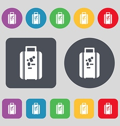 travel luggage suitcase icon sign A set of 12 vector image