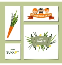 Greeting cards for jewish holiday sukkot vector