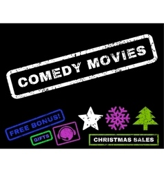 Comedy movies rubber stamp vector