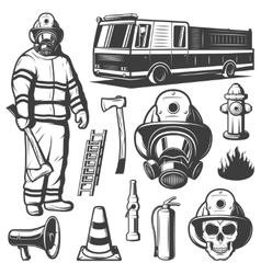 Firefighting Vintage Elements Set vector image